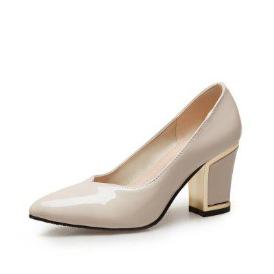 Women Patent Leather Chunky Heel Pointed Toe Pumps
