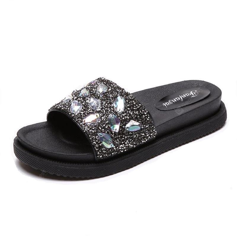 All-match Thick Bottom Sequined Are A Muffin Slippers