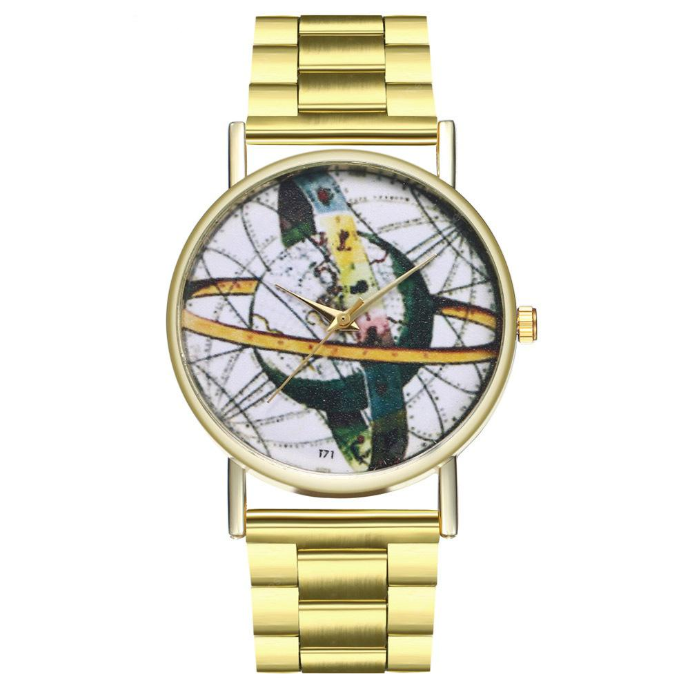 Retro World Map Astronomy Zodiac Women'S Watch