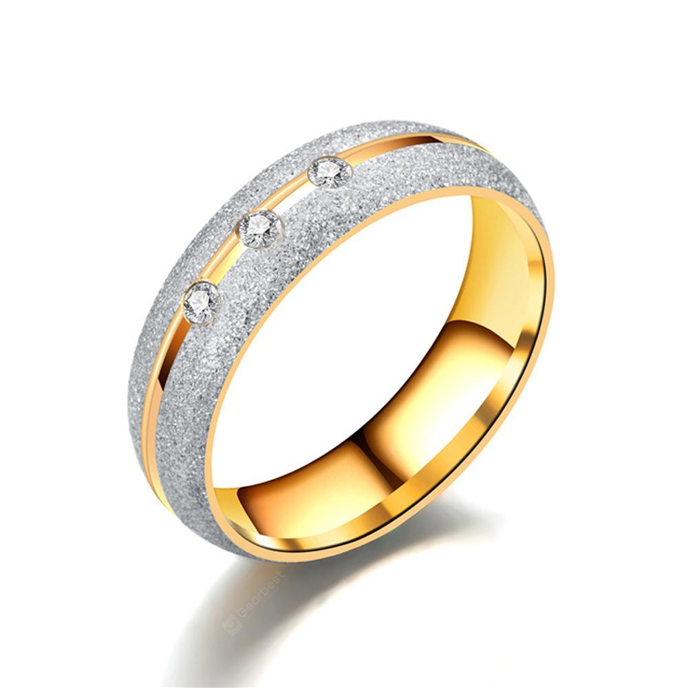 Women's Steel Couples Gold-Plated Rings 01181 Personalized Gifts Jewelry