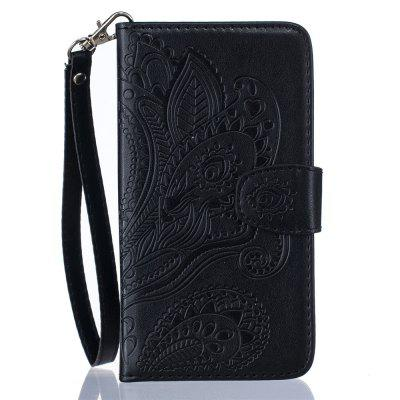 Wallet Flip Stand Case Embossed Plants PU Leather Cover Case for 5 / 5S / SE