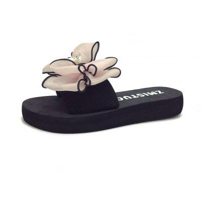Women's Flat Open Toes Slippers Bowknot Pearl Design Comfy Chic Slippers