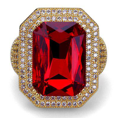 Hip Hop 18K Gold Plated Micro Paved CZ Red Stone Big Rings