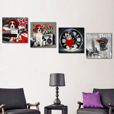 W133 Cool Dogs Unframed Art Wall Canvas Prints for Home Decorations 4 PCS