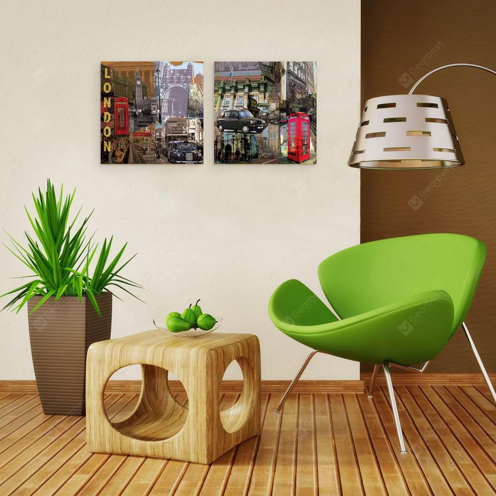 W139 Street Scenery Unframed Art Wall Canvas Prints for Home Decorations 2 PCS