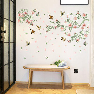 Flower Vine Bird Wall Stickers PVC Home Decals