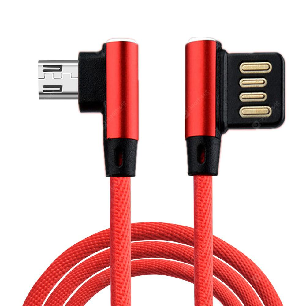 Cwxuan Micro USB Fast Charge Nylon Cord 90 Degree L Bending Data Sync Cable