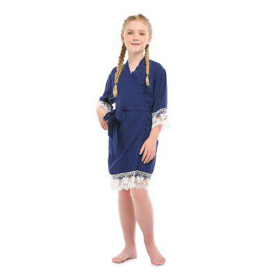 Girl's Junior Bridesmaid Rayon Cotton Lace Robe for Wedding Gift