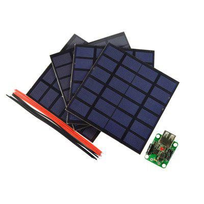 SW01506 4 Piece 1.5W 6V Solar Panel Charger Kit with 5V USB Solar Controller