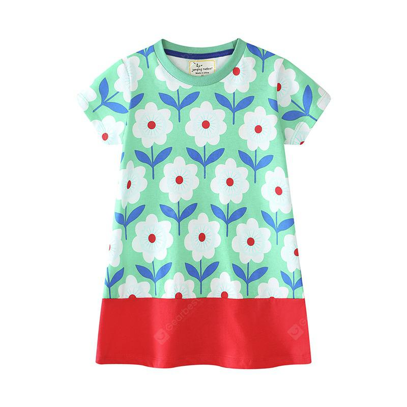 New Girl's Flower Print Short Sleeve Dress