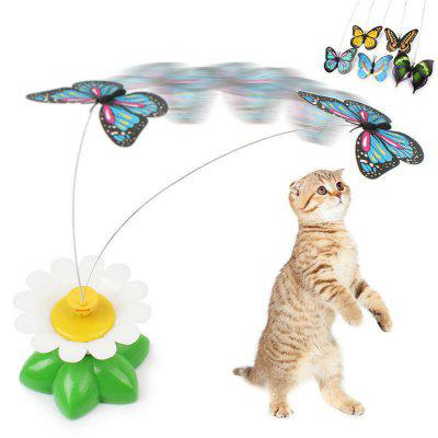 Kitten Electric Rotating Butterfly Bird Rod Wire Cat Toy Pattern Random