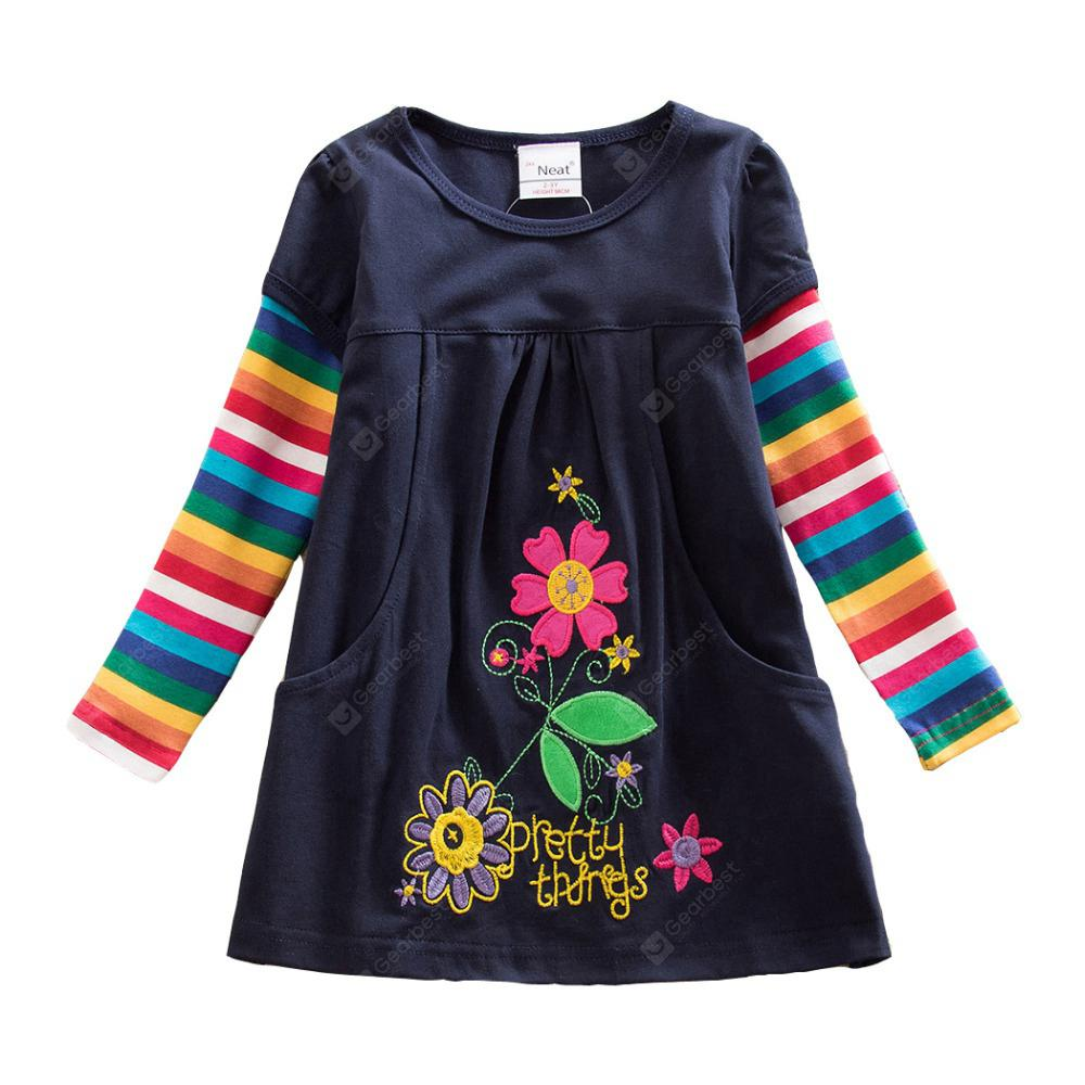 Jxs Neat Cotton Embroidered Girl Long Sleeve Dress