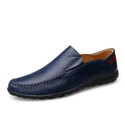 ZEACAVA Big Size Men Genuine Leather Comfortable Slip On Business Casual Shoes