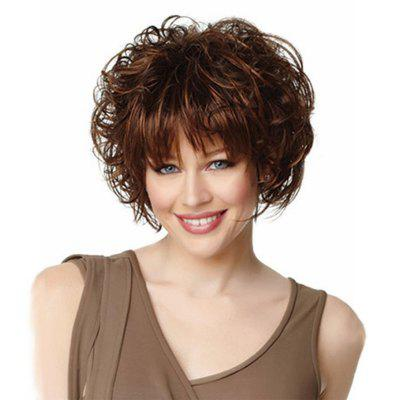 New Fashion Women Brown Fluffy Short Hair  Synthetic Chemical Fiber Wig