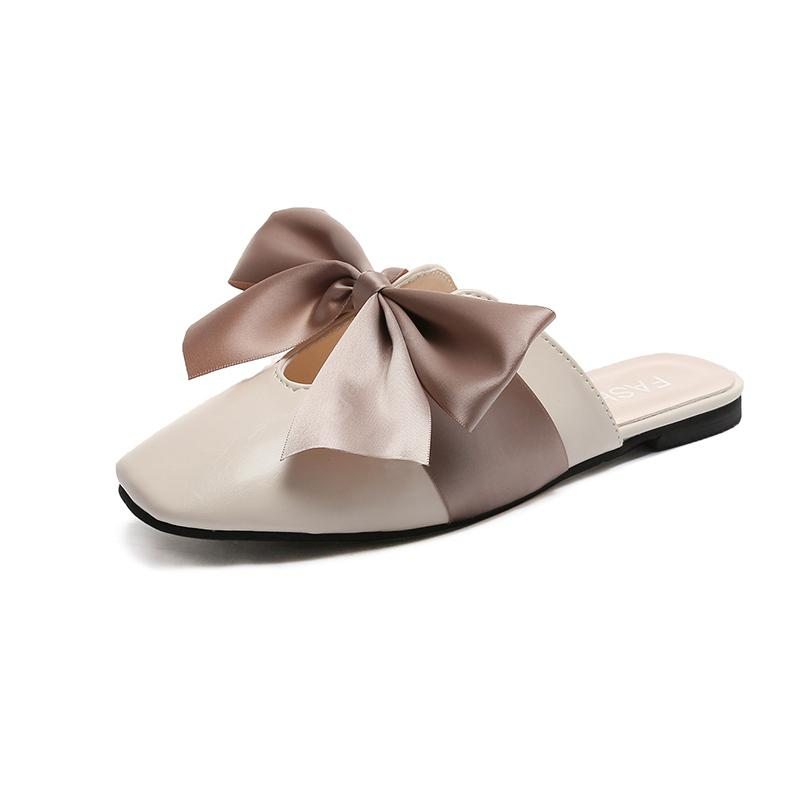 Baotou Fashion Slippers with Flat Bottom Bow