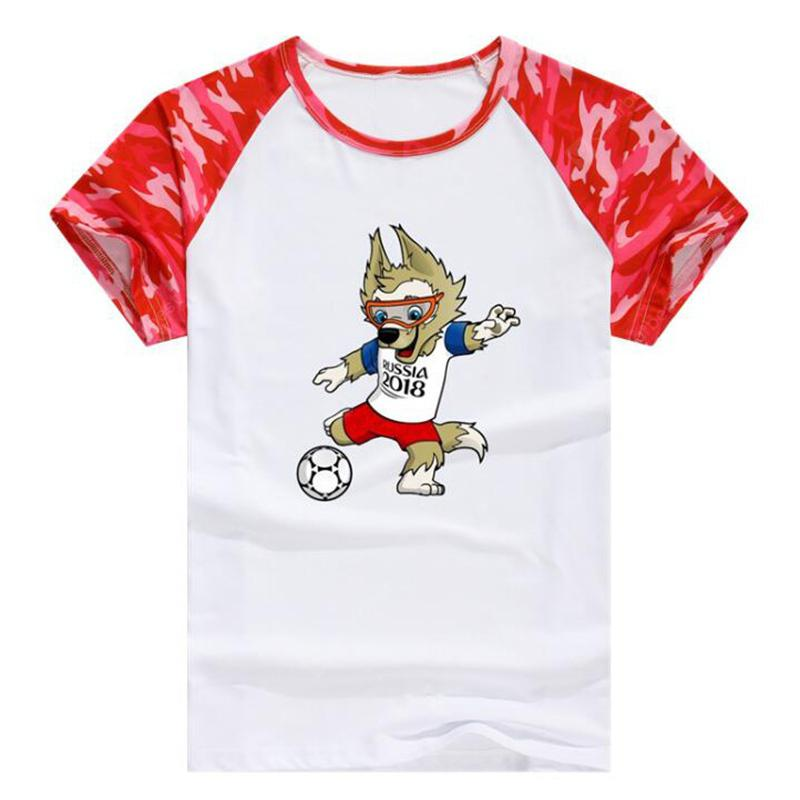 Men's Casual 2018 World Cup Mascot Print Round Neck Short Sleeves T-shirt