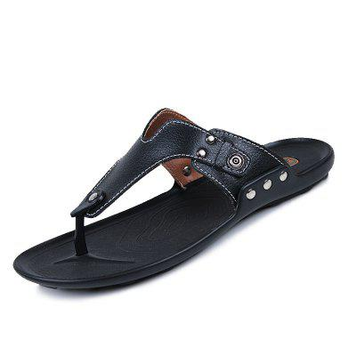 Leather Spring Summer Comfort Flip-Flops Rivet Casual Outdoor Shoes