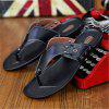 Leather Spring Summer Comfort Flip-Flops Rivet Casual Outdoor Shoes - BLACK