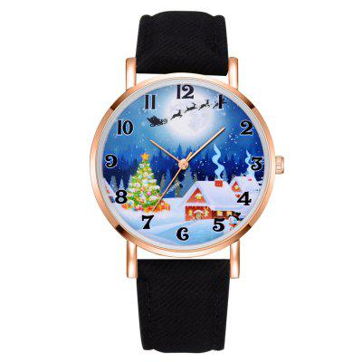 XR2496 Christmas Series Analoge Quartz PU lederen quartzhorloge voor dames
