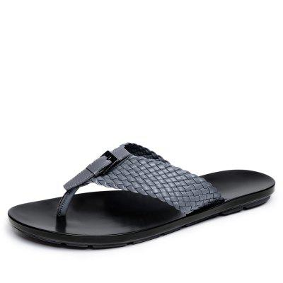 Men Weave Slippers with Genuine Leather Flip-Flops