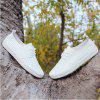 Pore Lace Up Flat Sneaker Shoes - WHITE
