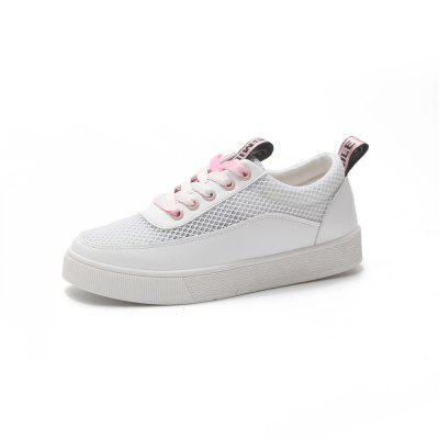 Hollowed Out Net Lace Up Sneakers