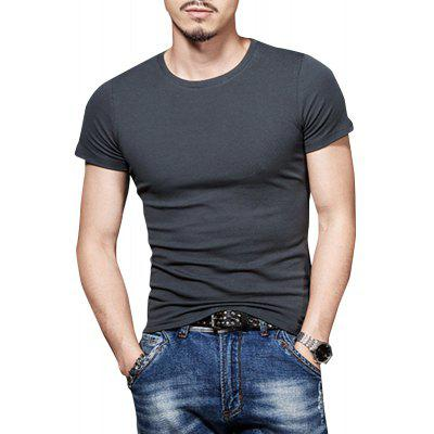 Summer Round Neck Solid Color T-shirt