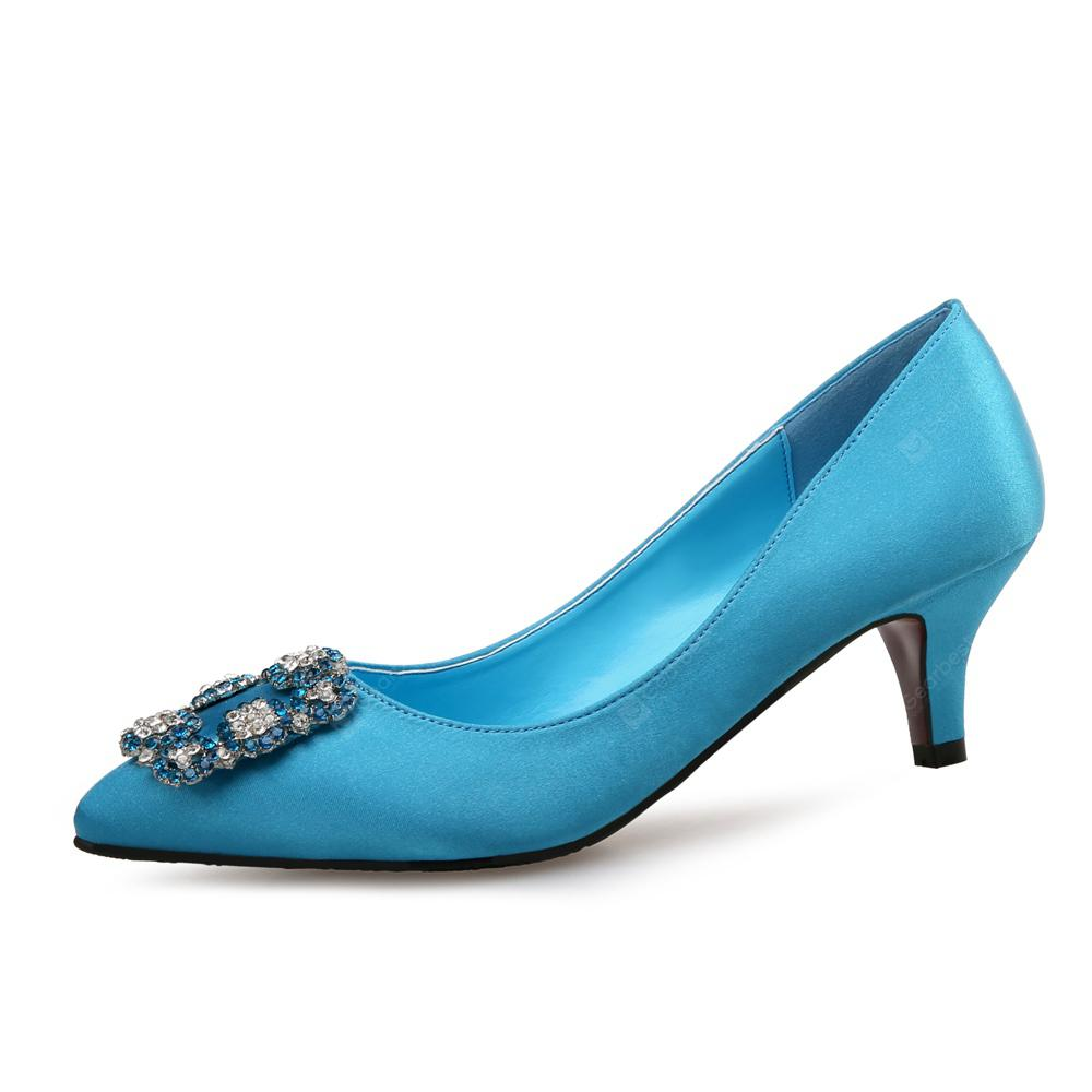 VICONE Women Summer Silk Crystal Pointed Toe Casual Sweet Fashion Heels
