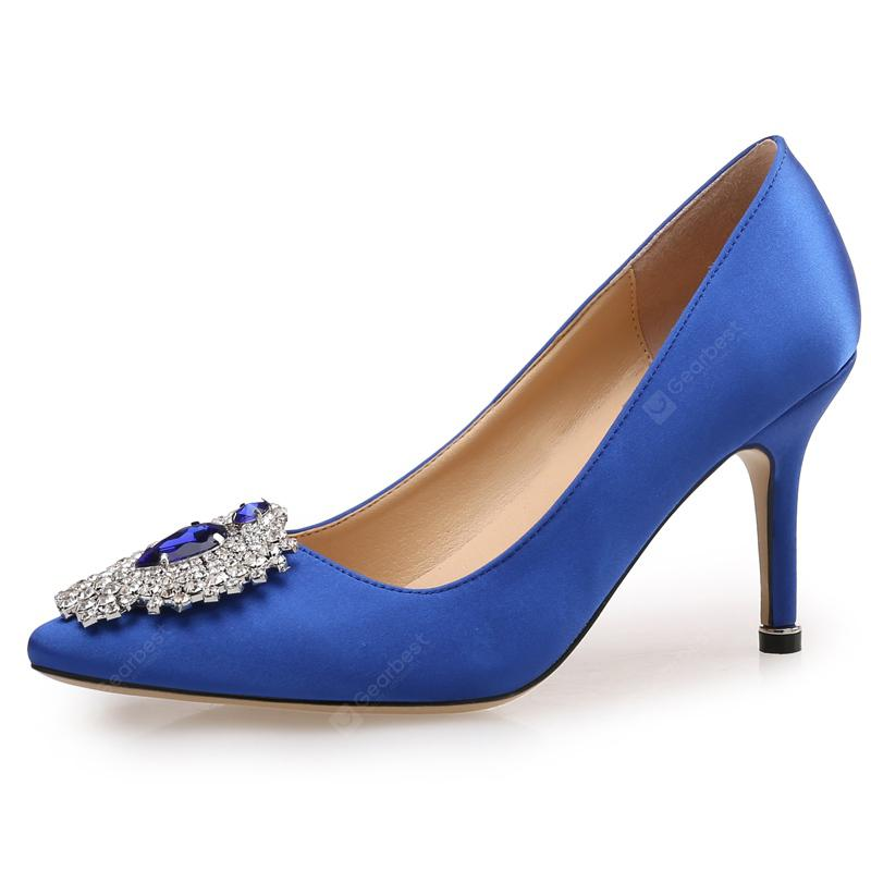 VICONE Women Summer Silk Crystal Pointed Toe Elegant Fashion Heels