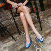 VICONE Women Summer Silk Crystal Pointed Toe Elegant Fashion Heels - BLUE