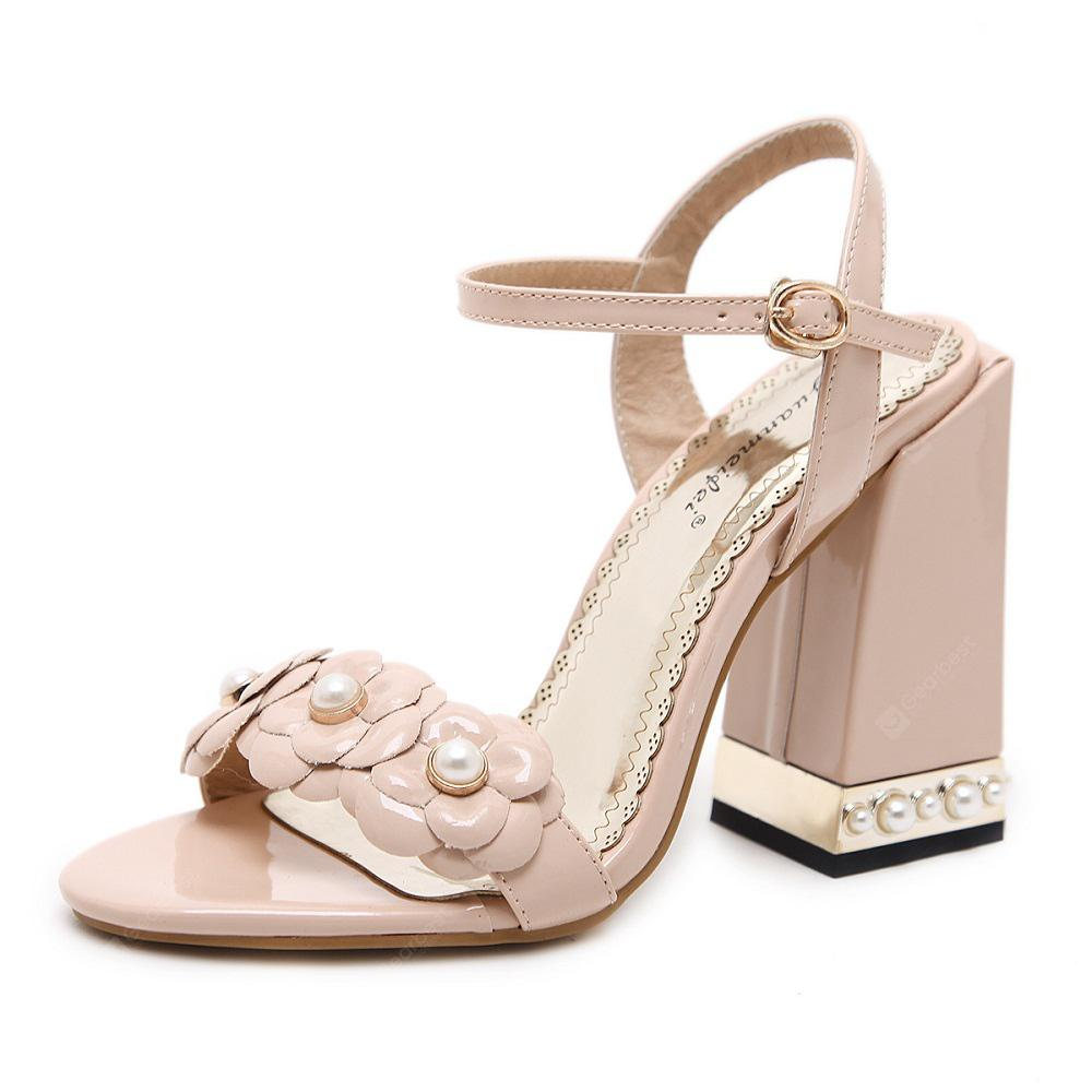 Spring and Summer Flowers Sandals Thick Heels High Heels
