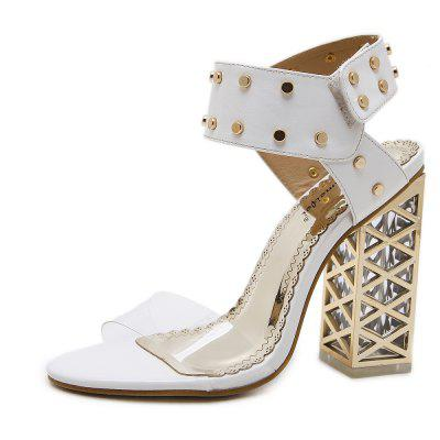 Summer 2018 The New Thick High Heels Transparent Rubber Shoes