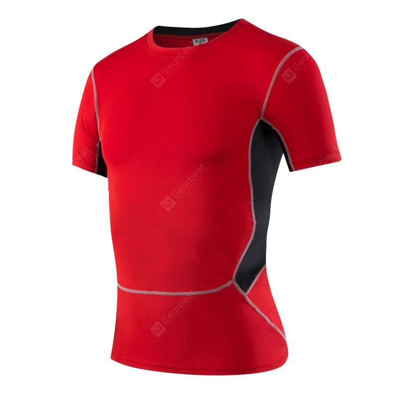 Quickly Dry Men'S Short T-Shirt Elastic Sportswear Fitness Tight Running Shirt