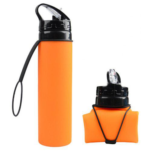 Orange Silicone Water Bottle Collapsible Squeeze,Gym,Portable,Sports,Camping