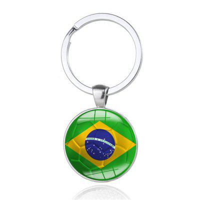 Alloy Football Flag Model Keychain