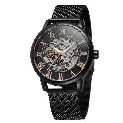 MGORKINA Men Luxury Skeleton Stainless Steel Military Sport Mechanical Watch