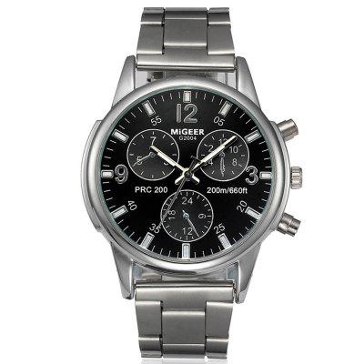 Migeer Fashion Men Casual Three Sub Dial Stainless Steel Dress Watch