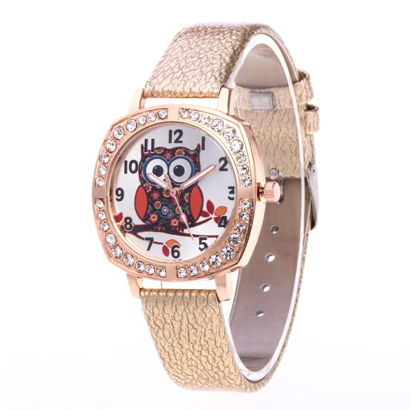 Cartoon Owl Artificial Diamond-encrusted Watch