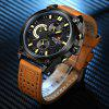 Naviforce Luxury Leather Band Men Sports Wristwatch - CORN YELLOW