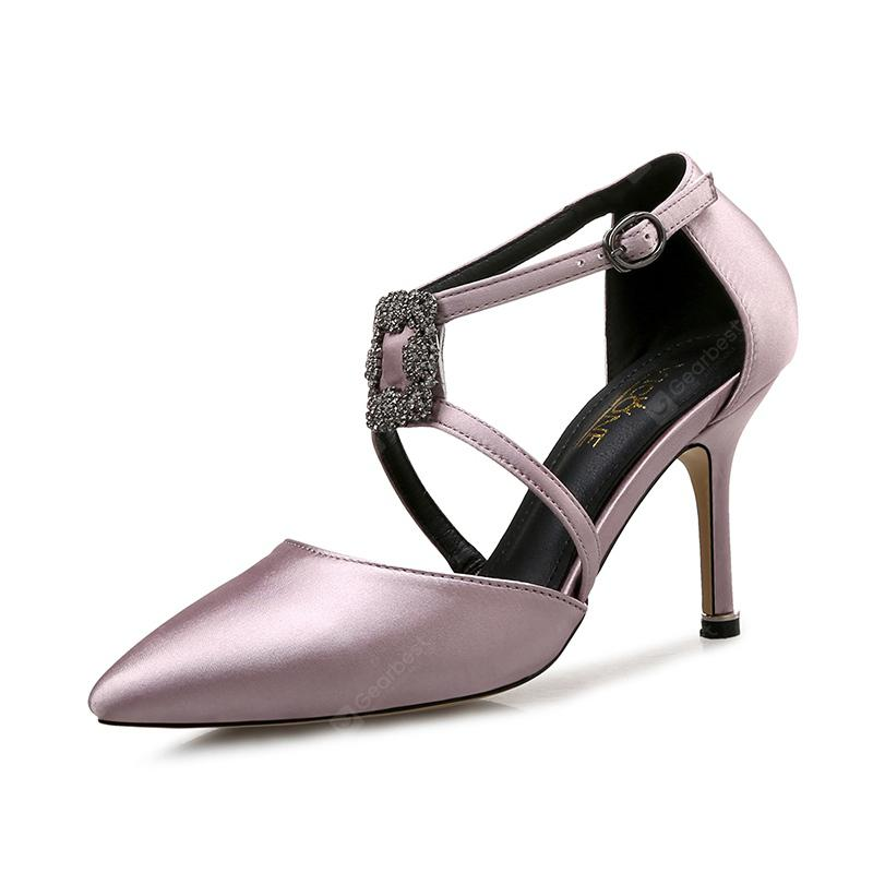 VICONE Women Summer Silk Cross-tied Party Mature Fashion Heels