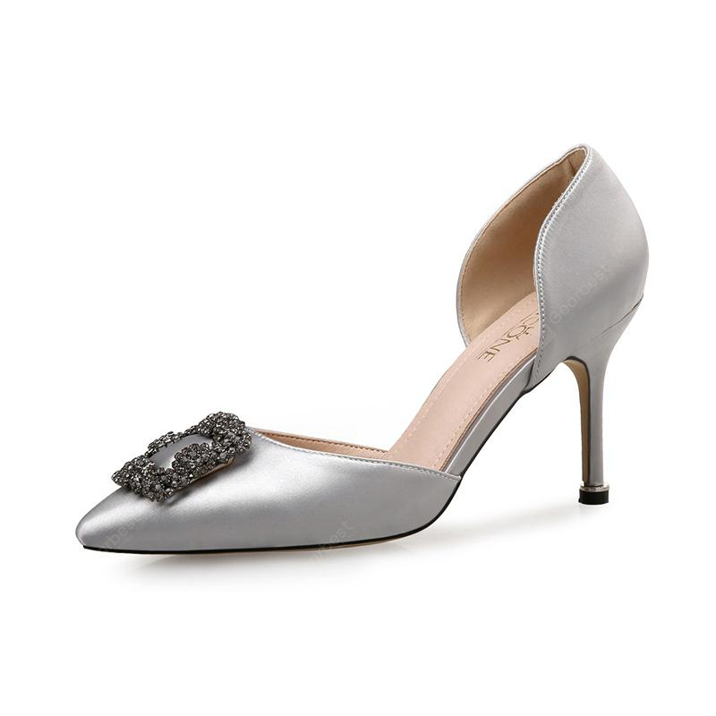 VICONE Women Summer Dress Party Crystal Pointed Toe Elegant Sweet Fashion Heels