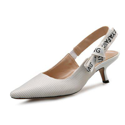 VICONE Women Spring/Autumn Casual Pointed Toe Cotton Fabric Heels