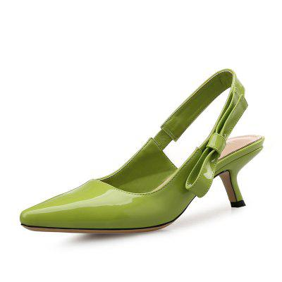 VICONE Women Summer Patent Leather Casual Party Pointed Toe Heels