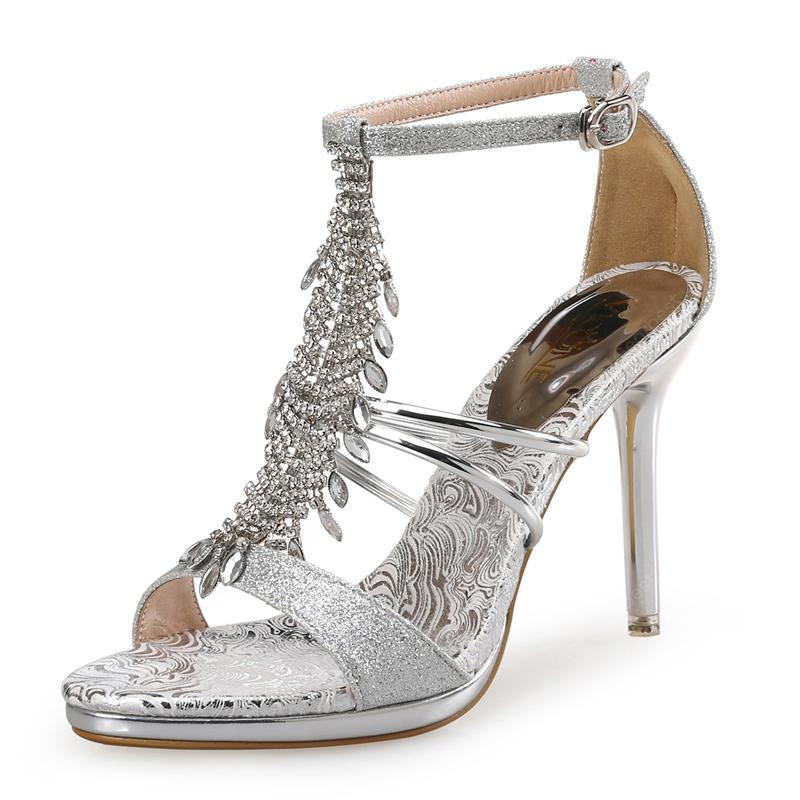 VICONE Women Summer Party Wedding Ethnic Crystal Fashion Heels