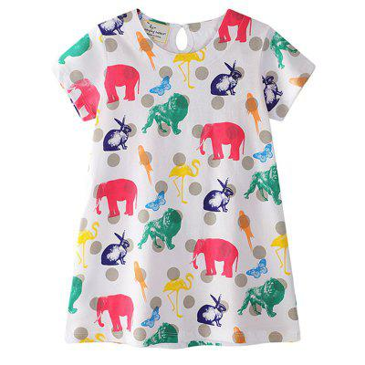 The New Children's Cartoon Animal Printed Round Collar Short - sleeved Dress