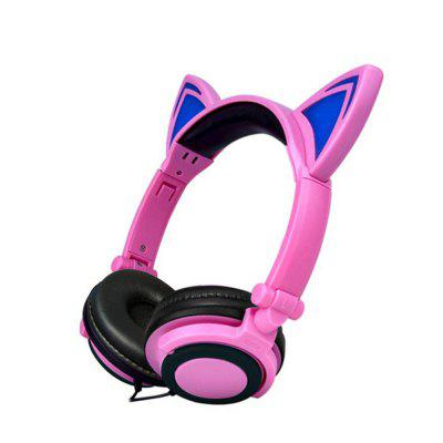Wired Cat Ear Headphones Foldable LED Light Flashing Glowing Gift ...