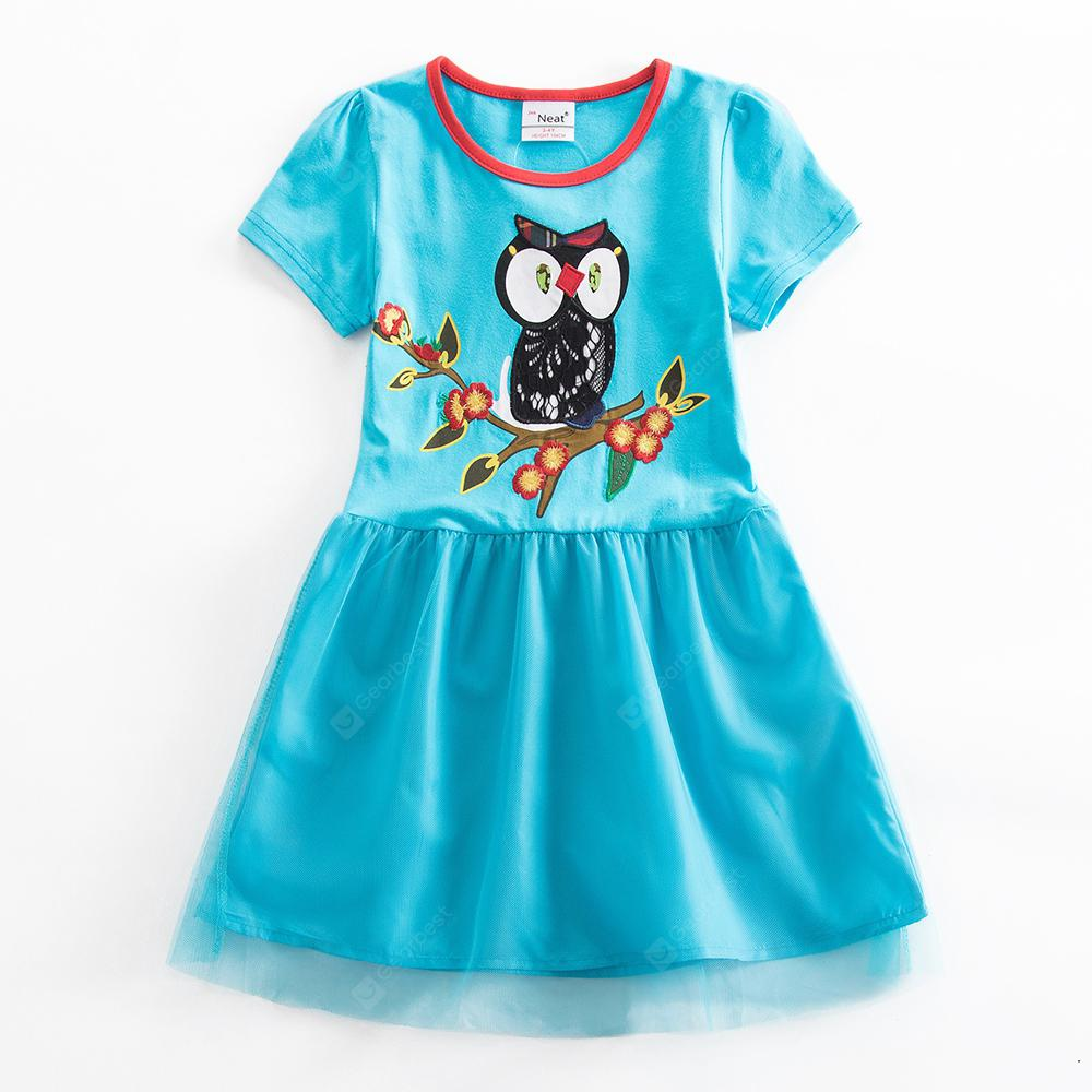 Jxs Neat SH6252 Cotton Embroidered Owl Girls Short Sleeve Summer Dress