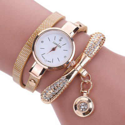 Women Leather Rhinestone Analog  Quartz Wrist  Harajuku Watches Bracelet