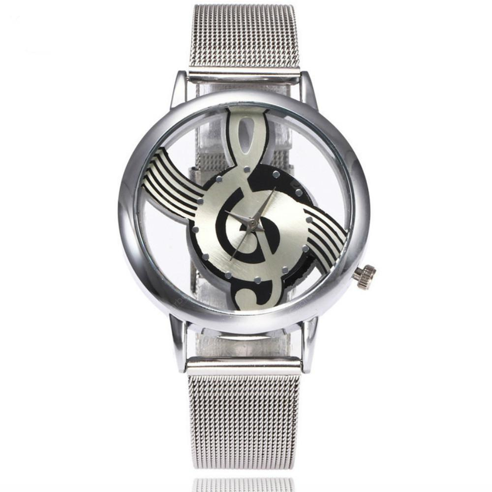 New Fashion Hollow Note Notation  Stainless Steel Quartz Wrist Mesh Belt Watch