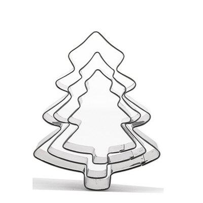 3pcs Stainless Steel Christmas Tree Cookie Cutter Cake Biscuits Decorating Tool